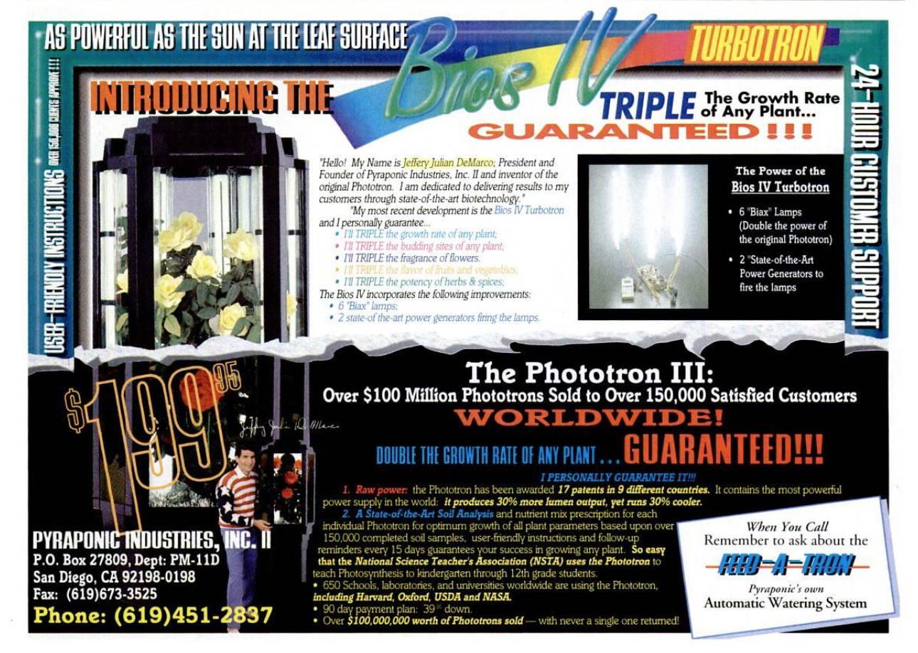 Popular Mechanics 1992 Phototron Ad