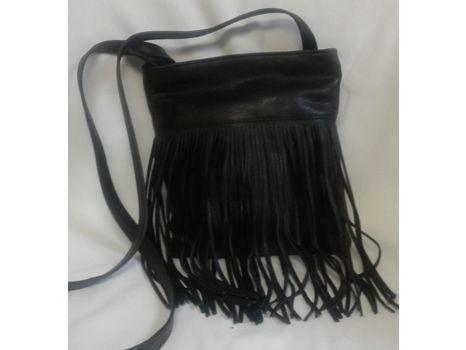 Margot Black Leather Fringe Crossbody