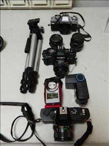 vintage cameras+ tripods