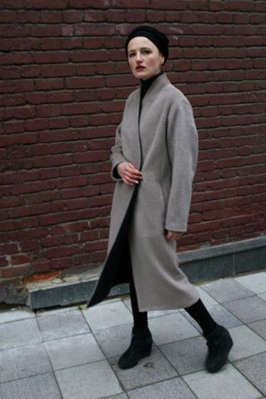 Пальто на подкладке   - песочное/графит #40