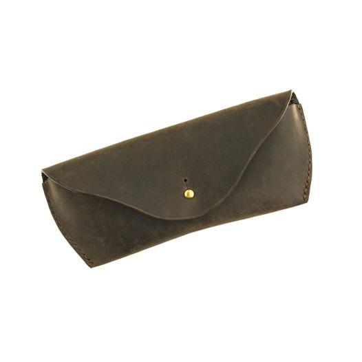 Очечник из натуральной кожи шоколадного цвета