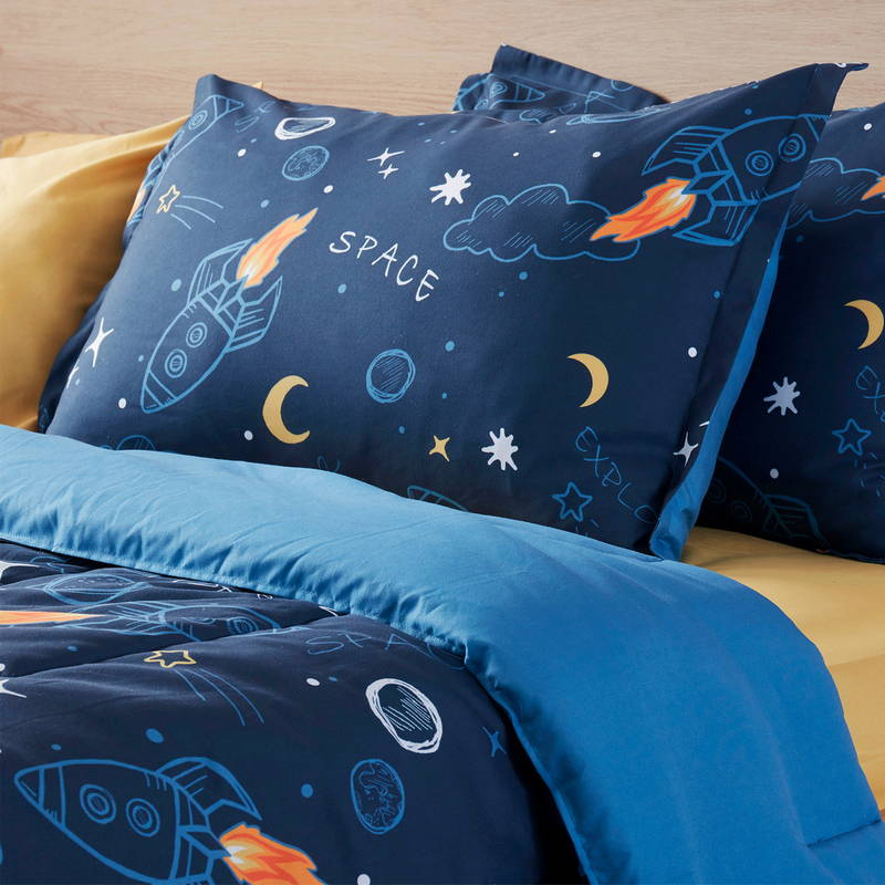 sleep zone bedding website store products collection space adventure kids comforter navy blue  detail with pillow