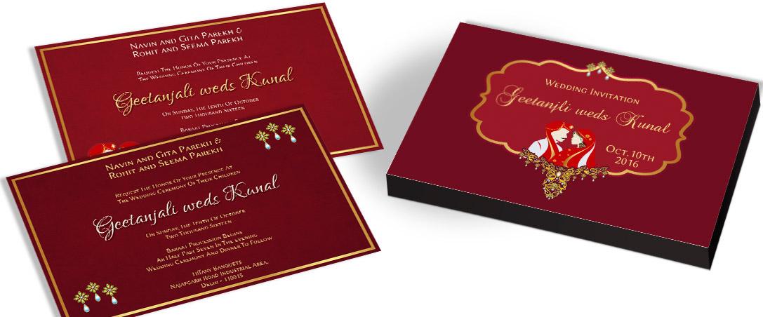 Red & GoldenWedding Invitation