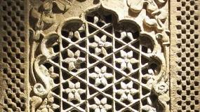 Detail of an intricately carved Indian stone jali panel. Incredibly skilled workmanship