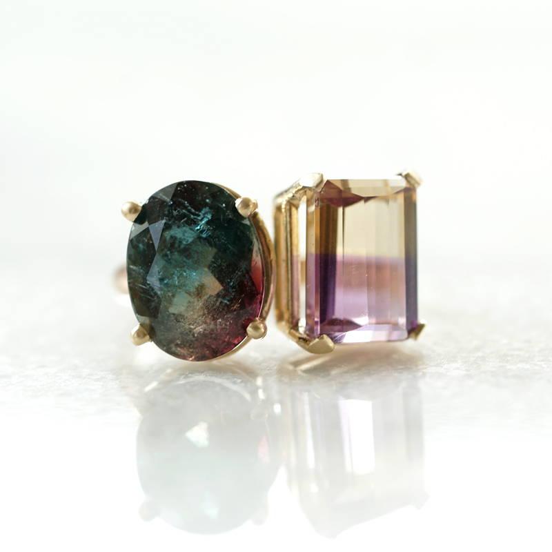 Tourmalie and ametrine gold ring