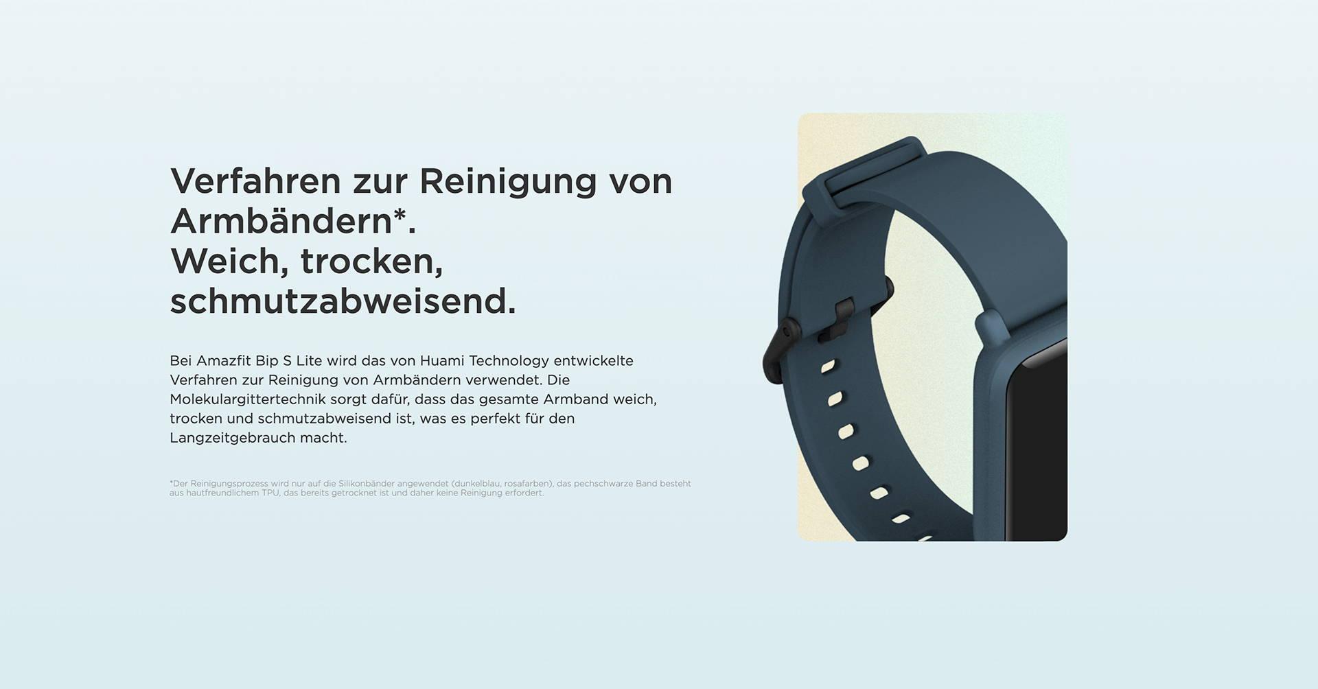 Amazfit DE - Amazfit Bip S Lite - Verfahren zur Reinigung von Armbändern. | Weich, trocken, schmutzabweisend.