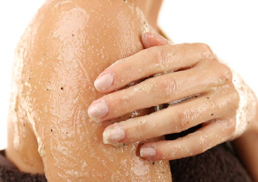 Apply a small amount of scrub to damp skin and massage in circular movements for a few minutes
