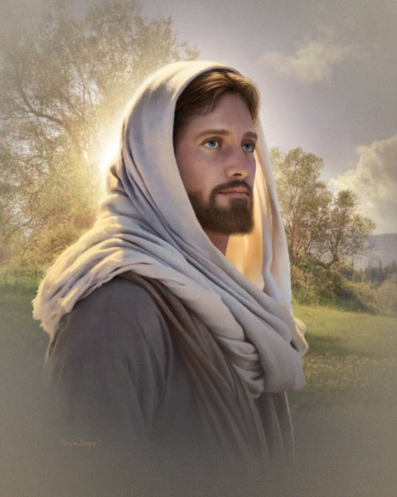 Portrait of Jesus against a green landscape. He looks calmly off into the distance.
