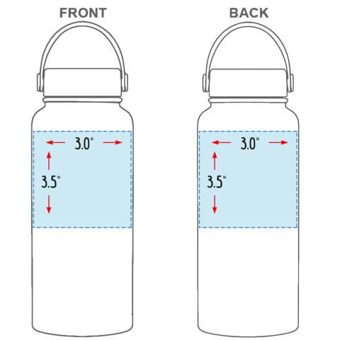Custom Logo Water Bottle 32 oz Laser Engraved Business Logo Sizing