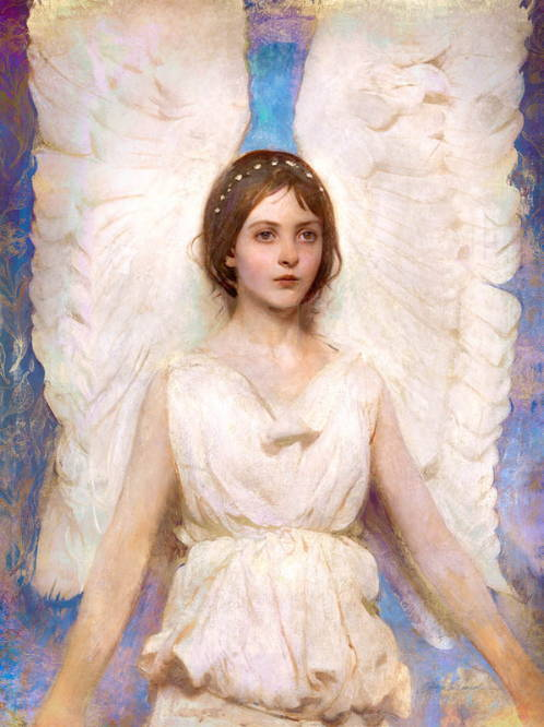 Classic painting of a young angel girl with tall wings.