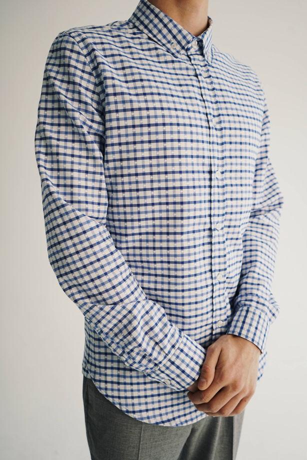 Рубашка мужская голубая клетка
