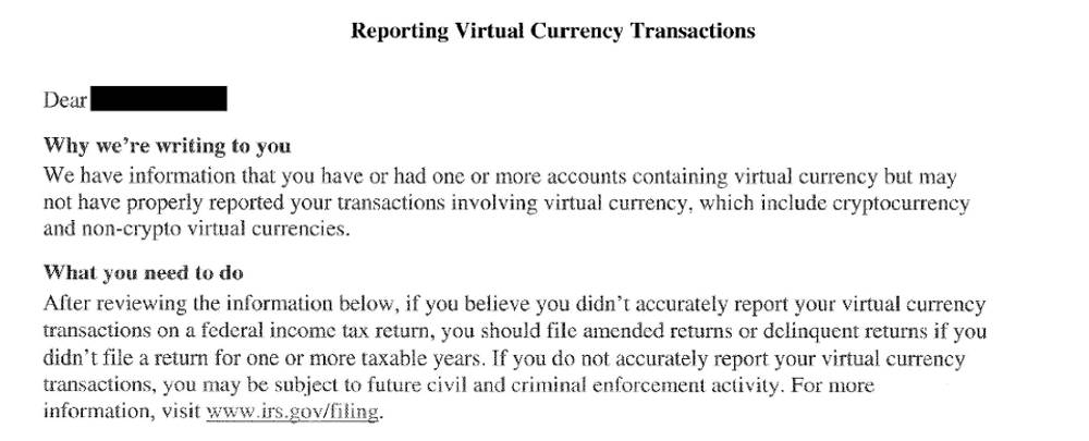 irs letter about Bitcoin tax