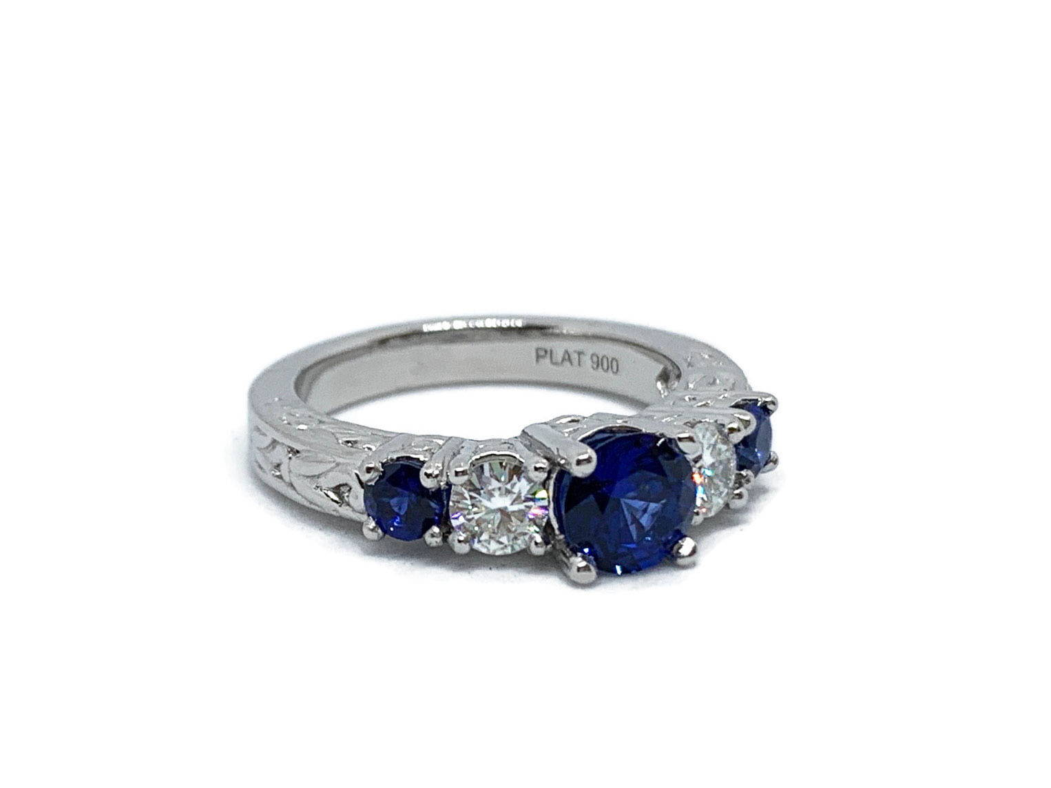 Sapphire and Moissanite Platinum Engagement Ring