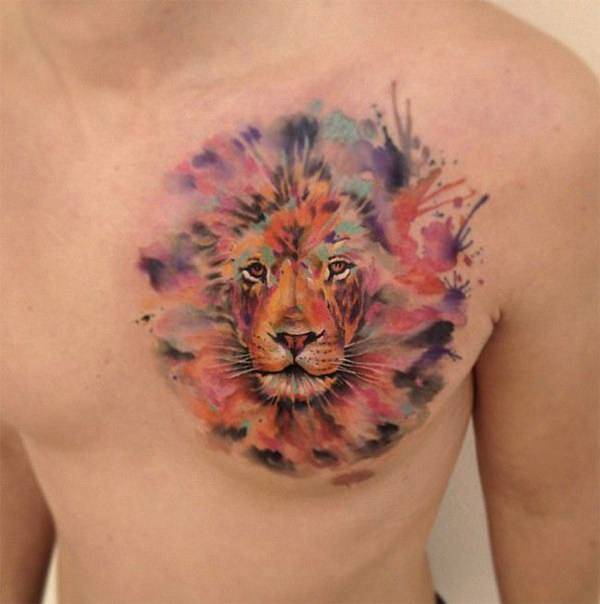 Tatouage Lion Multicolore