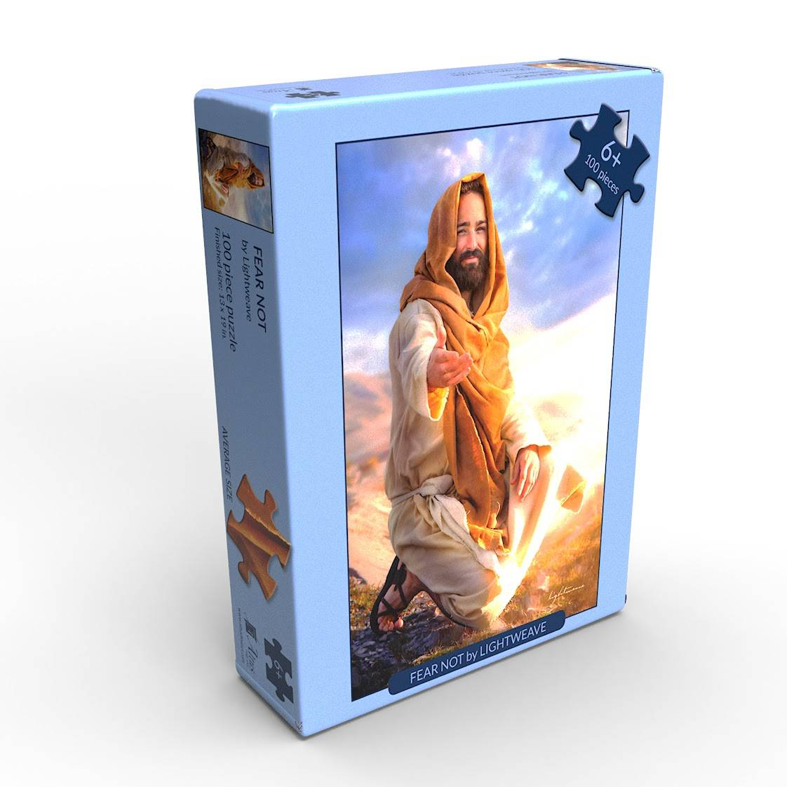 LDS art puzzle featuring an image of Jesus Christ by Kelsy and Jessy Lightweave.