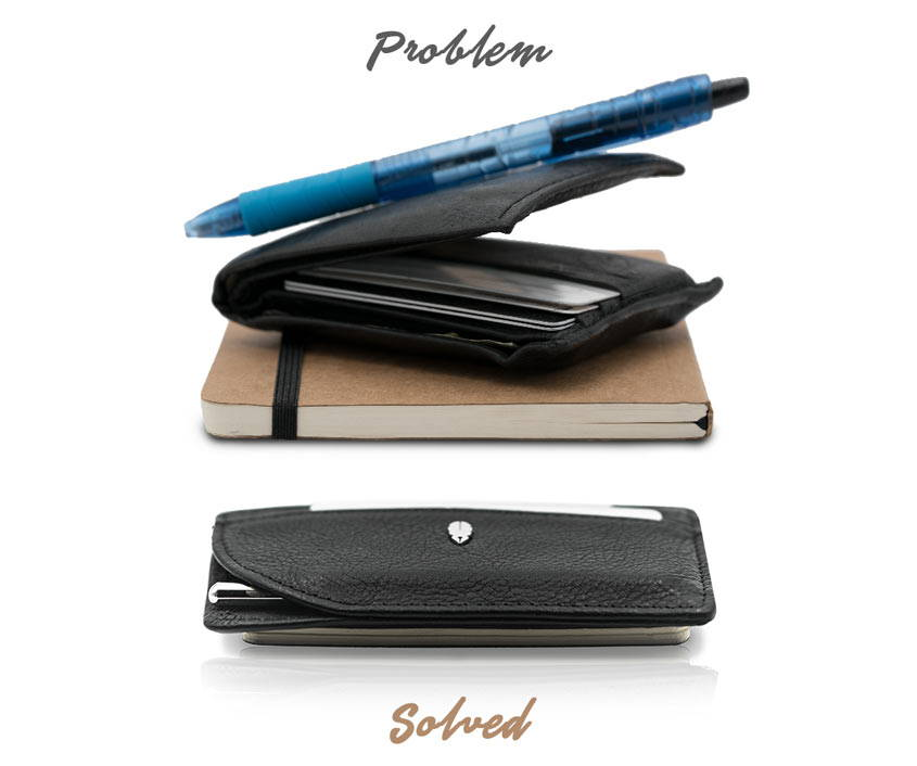 Slim journal wallet and pen compared to competitors