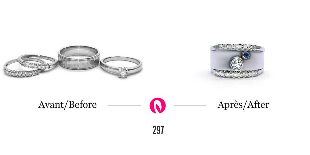 Transformation de cinq bagues avec diamants en une bague séparée en 3 parties dont la principale plus large en or blanc est sertie d'un diamant rond et d'un saphir jumelée à deux semi-éternités au-dessus et en dessous.