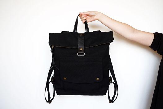 Рюкзак из черного канваса и кожи