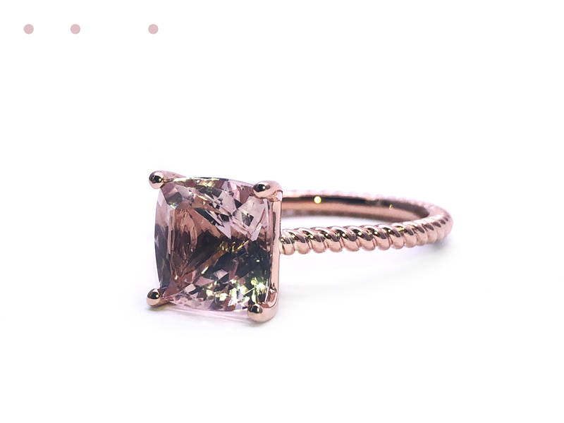 twisted pink gold ring with big morganite