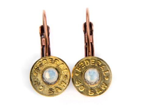 40 Caliber Bullet and White Opal Earrings
