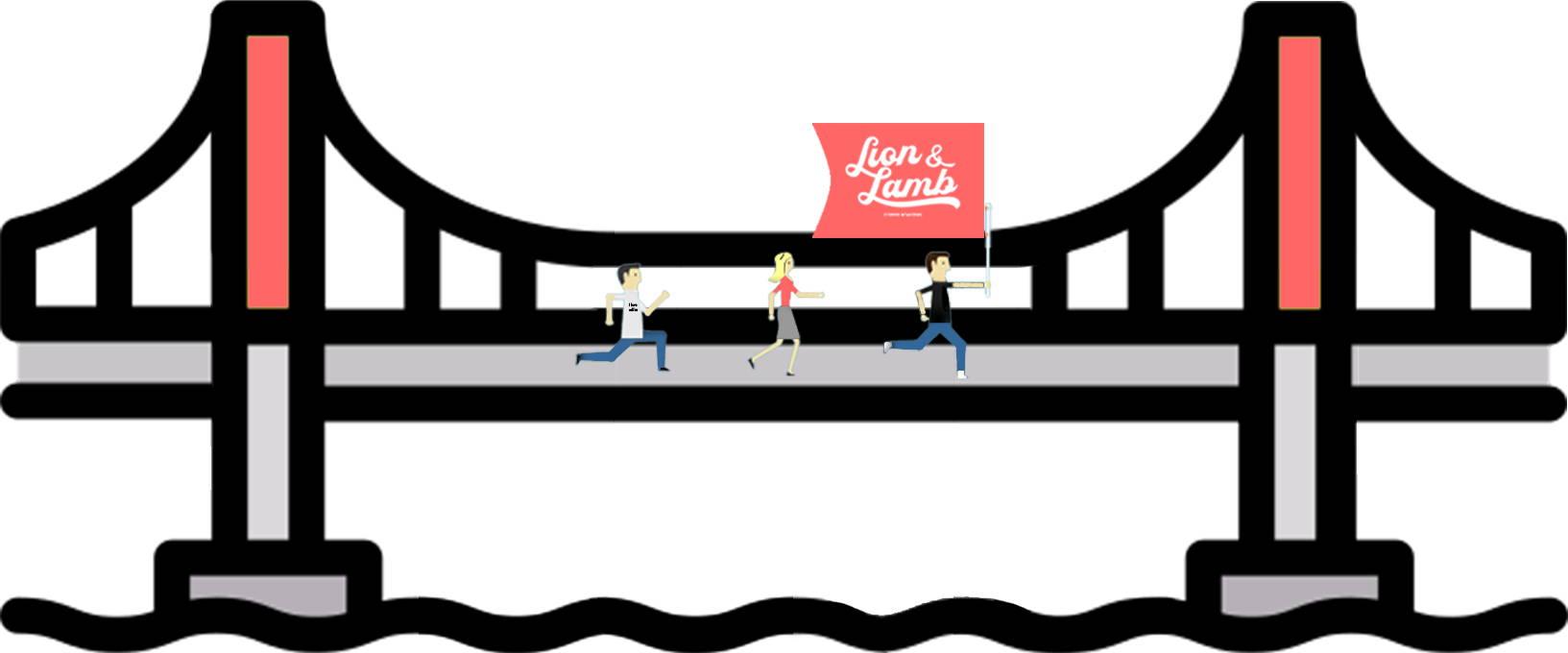 Cartoon artwork of people running across a bridge