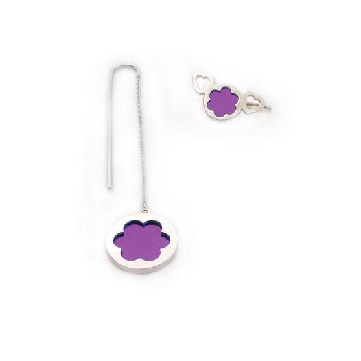 Асимметричные серьги со вставкой из титана (цвет: фиолетовый)