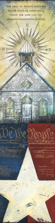 Patriotic artwork of a church and the constitution with various textures intermixed.