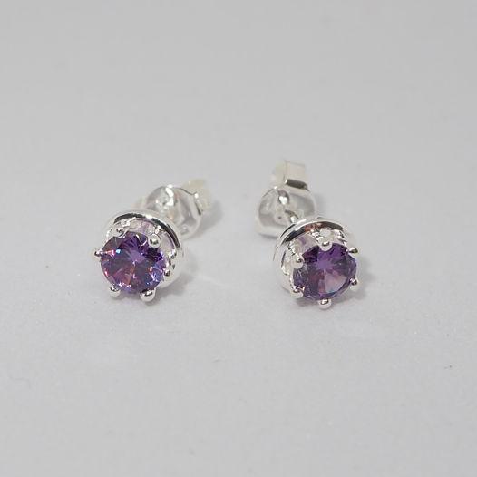 Серебряные серьги с фиолетовыми фианитами