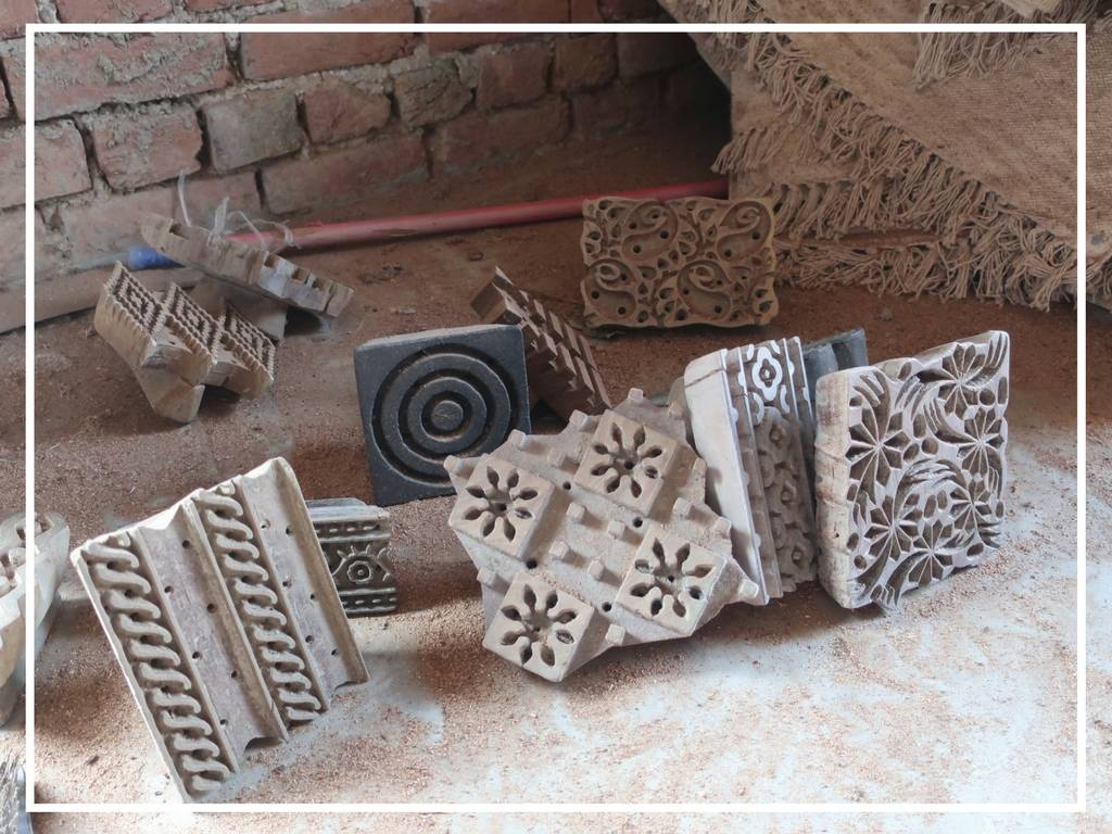 carved wooden blocks for fabric block printing in bagru india