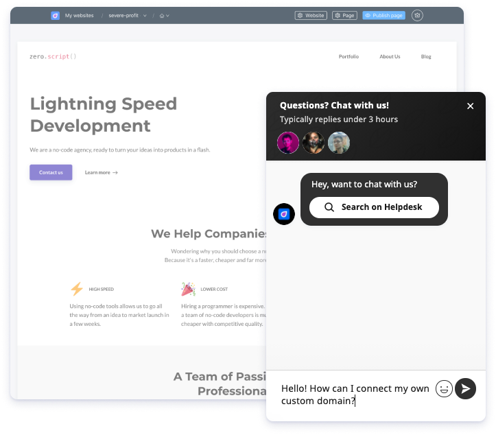 Unicorn Platform chat support 2