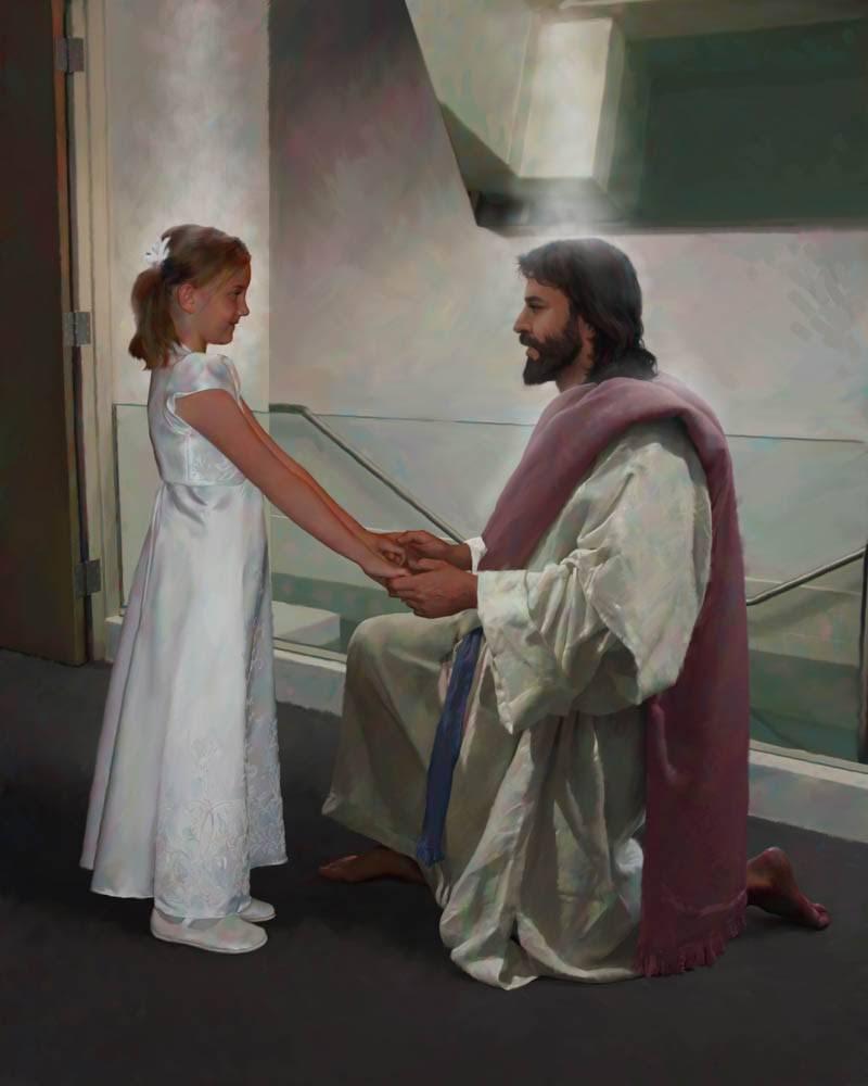 LDS art painting of Christ kneeling next to little girl beside a baptismal font font.