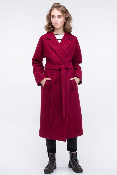 Пальто-халат винного цвета