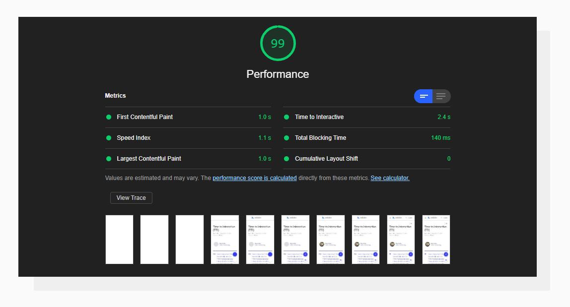 A screenshot of decent Google Lighthouse Audit results