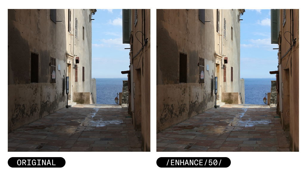 Image Enhance feature achieves optimal brightness of the photo