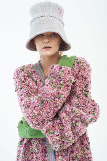 """Вязаное буклированное  пальто  """"Барби"""""""