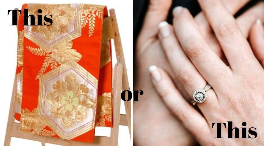 Japanese obi belt next to an engagement ring