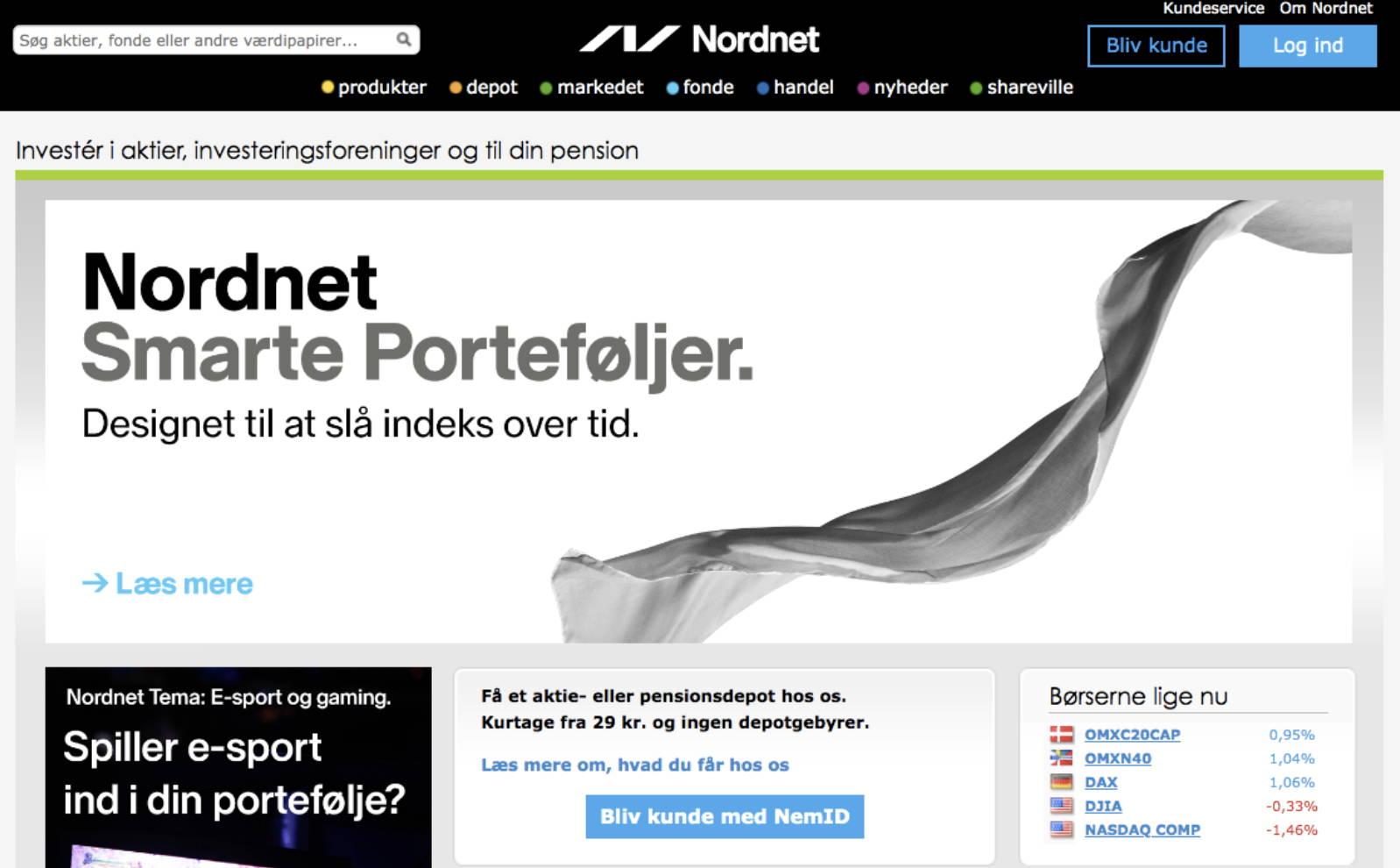 Nordnets hjemmeside hvor begyndere let kan handle med aktier