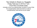 Floor Seats to 76ers Game vs. Denver Nuggets