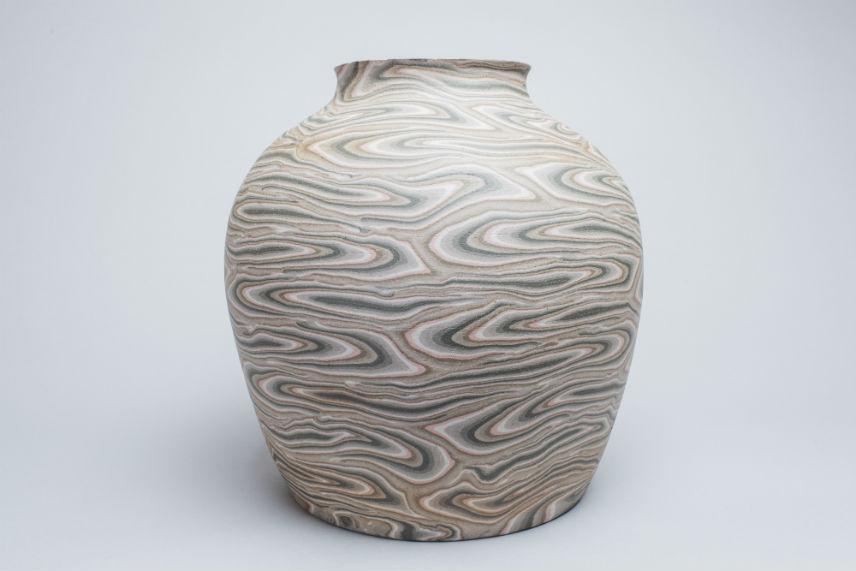 grey, white, pale pink vase