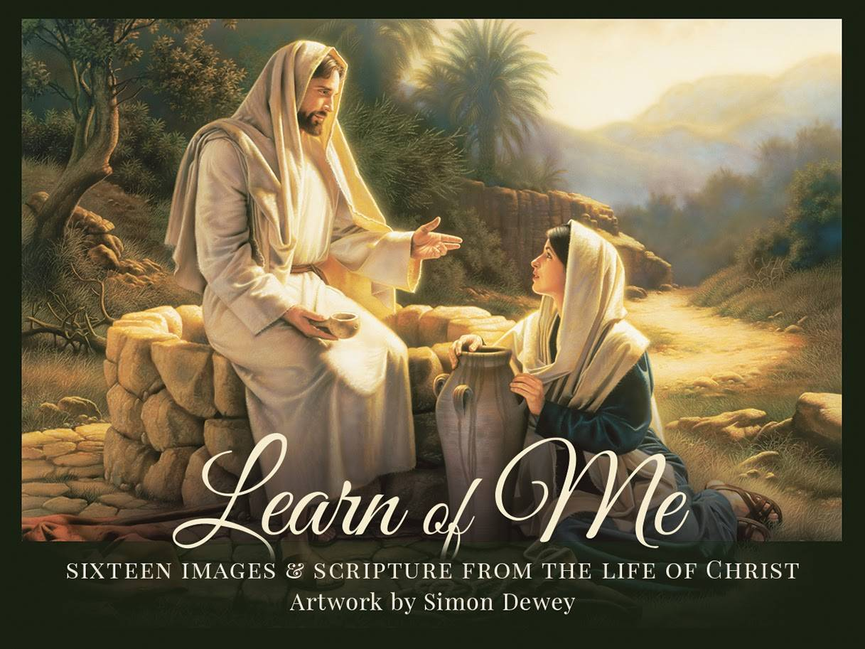 LDS art mini card pack cover featuring a painting by Simon Dewey of Christ speaking with the woman at the well.