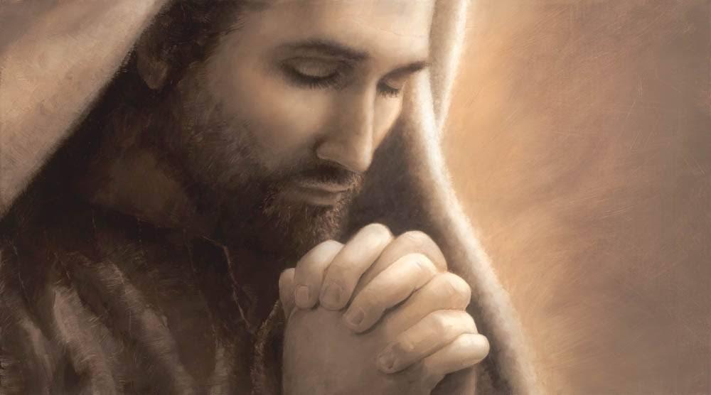 Up-close image of Jesus praying painted in sepia tones.