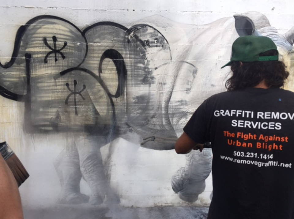 cleaning graffiti from a mural