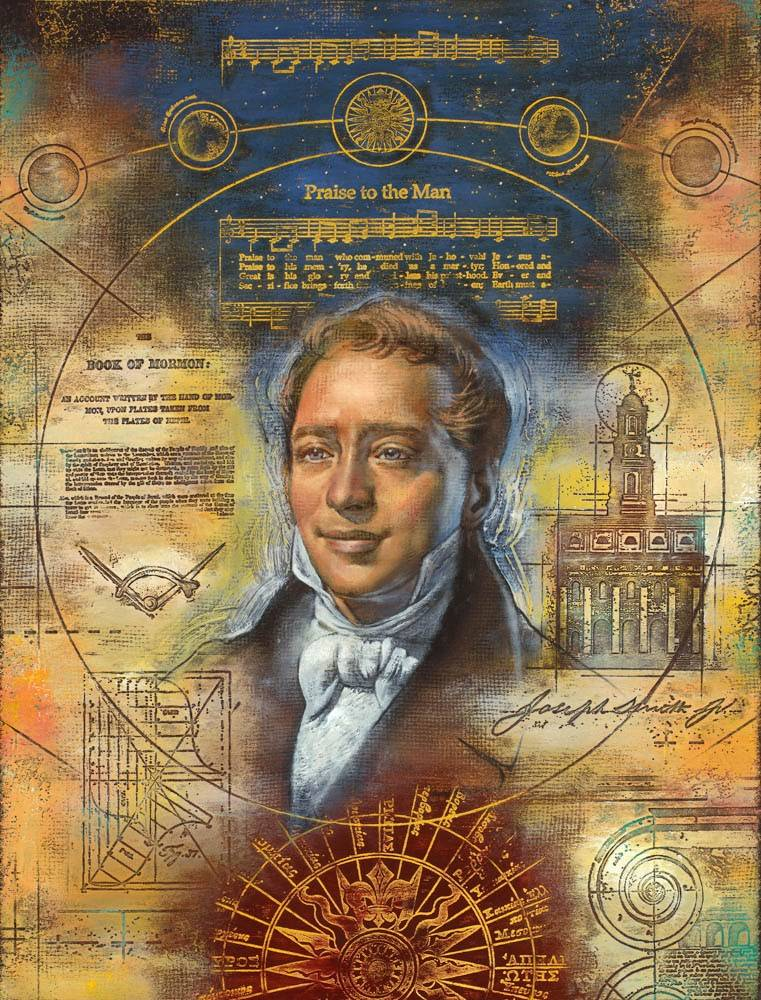 LDS art portrait of Joseph Smith overlapped with temple blueprints, hymn lines, and symbolic images.
