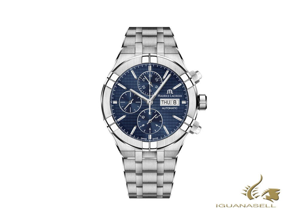 Maurice Lacroix Aikon Chronograph automatic watch, blue, stainless steel bracelet