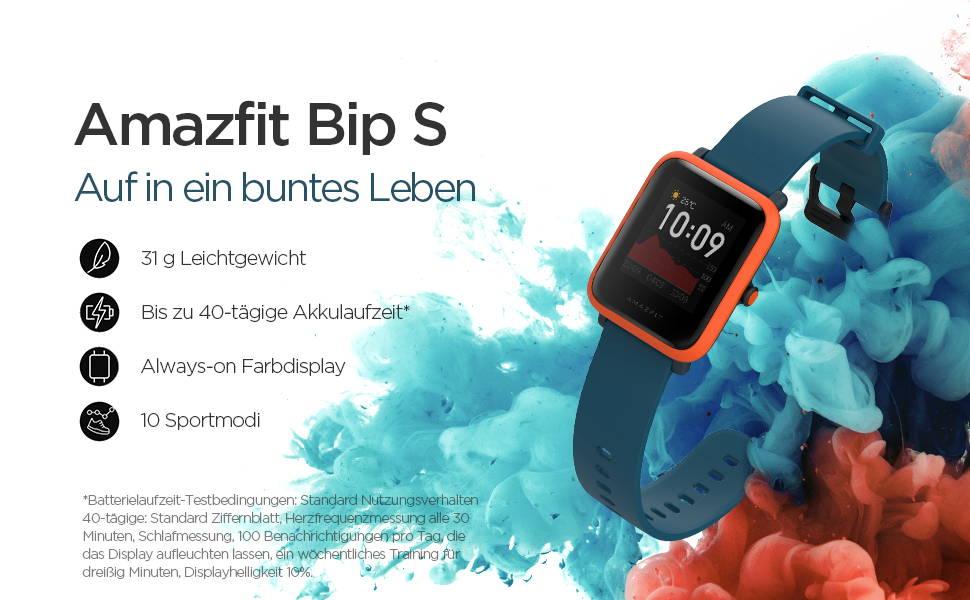Amazfit Bip S - Auf in ein buntes Leben 31g Leichtgewicht | 40-tägige Akkulaufzeit  Wasserdicht bis 5 ATM | Integriertes GPS