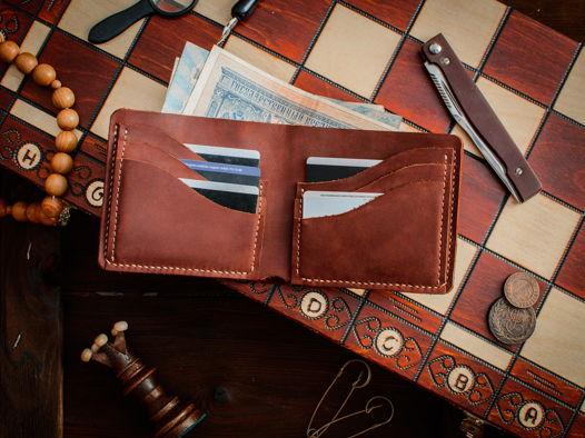 Компактный кожаный бумажник -WAVE- цвет Коньяк