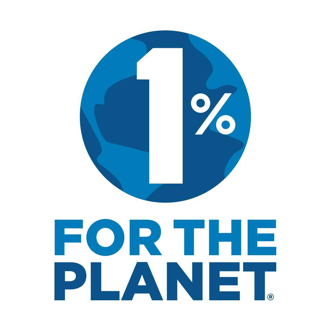 1% for the planet logo with the globe in two shades of blue