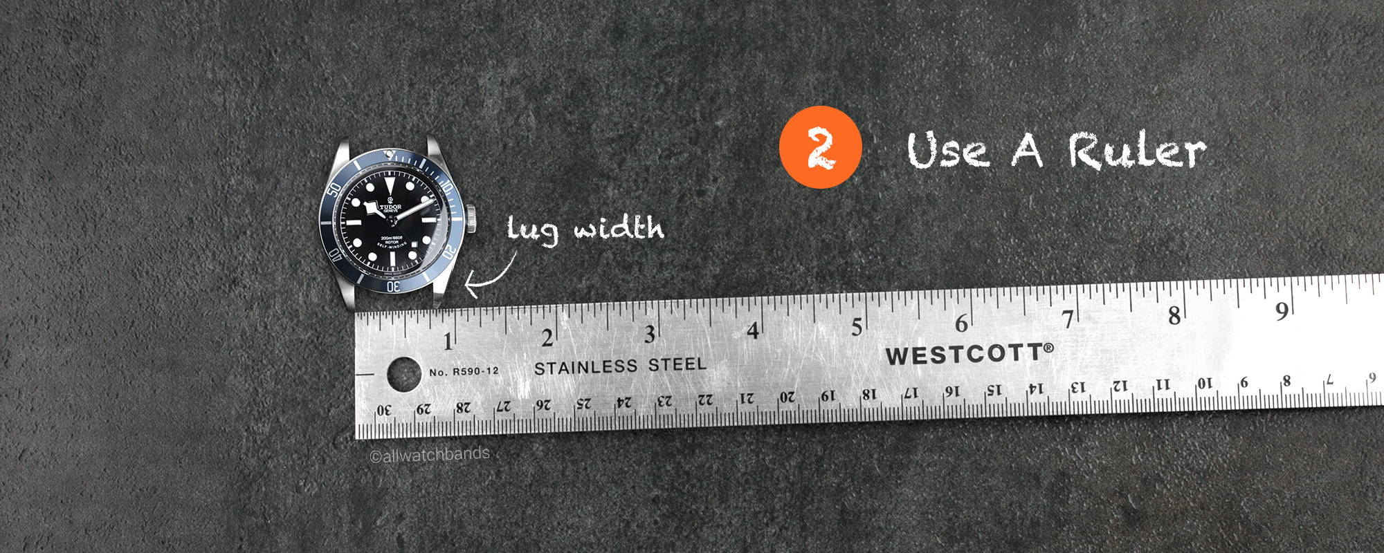 use a ruler to measure watch band length