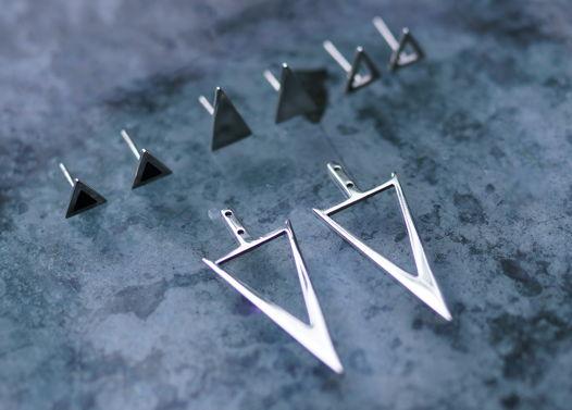 Серебряные серьги-трансформеры V с фиксированным модулем