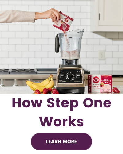 """Image shows Step One Smoothie mix being poured into a blender in a white kitchen. Text below image says """"How Step One Works"""" with a button that says """"Learn More"""""""